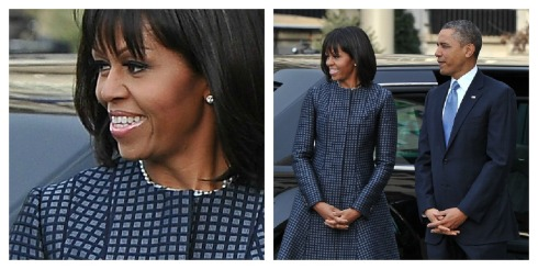 Michelle Obama-Thom Browne Coat- Bangs