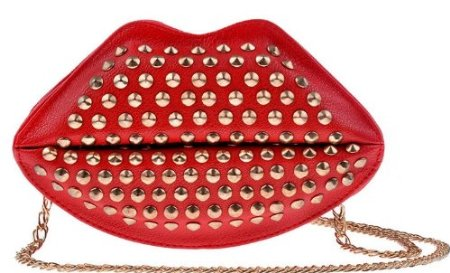 red lipstick purse